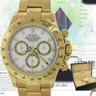 Rolex MINT Daytona 18k Gold 116528 40mm White Chronograph Watch