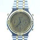 Gucci Damen Uhr Quartz Chronograph Stahl/gold Rar 34mm
