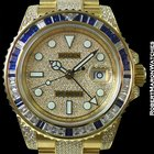 Rolex 116758sa Gmt II 18k Sapphire Diamond Baguette Pave Dial...