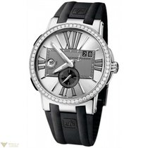 Ulysse Nardin Executive Dual Time Silver Diamonds Bezel Men`s...