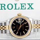 Rolex Ladies 18K/SS Datejust - Black Stick Marker Dial 79173