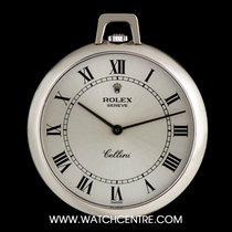 Rolex 18k W/G Silver Roman Dial Cellini Pendant Pocket Watch 3717