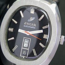 Enicar Automatic Day Date Steel Mens Watch Sherpa Logo on Back