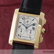 Cartier 18k (0,750) Gold Tank Francaise Chronograph Herrenuhr...