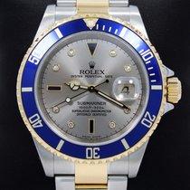 Rolex Submariner 16613 2tone 18k Y Gold/ss Serti Blue Sapphire...