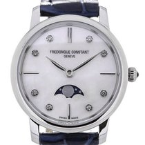 Frederique Constant Slim Line Moon Phase Blue Leather Strap...