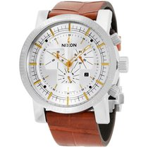 Nixon Magnacon Stainless Steel Silver Dial Leather Strap...