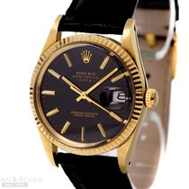 Rolex Vintage Date Ref-15037 14k Yellow Gold Black Dial Bj-1982