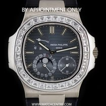 Patek Philippe 18k W/G Diamond Bezel Power Reserve Nautilus...