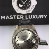 Rolex 116189 Datejust Diam Bezel Rhodium Grey Roman Dial WG