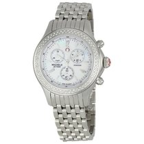 Michele Jetway Mother of Pearl Dial Diamond Bezel Ladies Watch