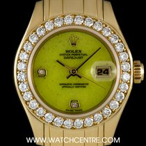 Rolex 18k Y/G Rare Stone Dial Dia Set Pearlmaster Datejust 69298