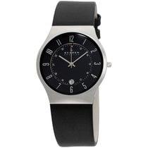 Skagen Black Dial Leather Strap Men's Watch 233xxlslb