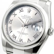 Rolex 36mm SS Datejust Silver Roman Oyster Band