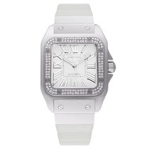 Cartier Santos 100 Medium White Gold&Diamonds 44.2 x 35.6mm