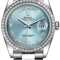 Rolex Day-Date 36mm Platinum Diamond Bezel 118346 Ice Blue...