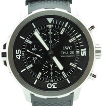 IWC Aquatimer Chronograph Black Dial Black Rubber Mens Watch...