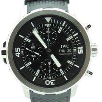 IWC Aquatimer Chronograph Black Dial Black Rubber Mens Watch...