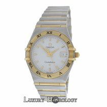Omega Ladies Constellation Midsize 27mm Date Full Bar 18K Gold