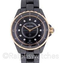 Chanel J12 Black Ceramic 18K Gold Diamond Dial Automatic 38mm...