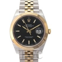 Rolex Datejust 41 Black 18k yellow gold/Steel 41mm Jubilee -...