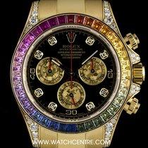Rolex 18k Y/G Rainbow Sapphire Bezel Dia Daytona B&P...