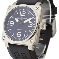 Bell & Ross BR-03-92-BLK-SR BR03-92 in Steel - on Black...
