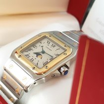 Cartier new Service Papers Santos Moonphase  Gold 18K langes Band