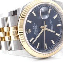 Rolex Mens 18k/SS 116233 Datejust - Blue Stick Dial - Red Date