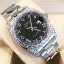 Rolex Datejust 116200 36mm steel custom diamond shoulders...