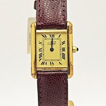 Cartier Vermeil Tank On Red Lizard Strap
