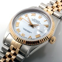 Rolex Mens 36mm 18K/SS Datejust White Roman Dial w/ Box and...