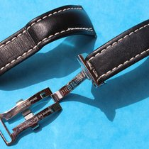Breitling 24mm Black Leather strap deployment clasp