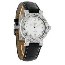 Movado Vizio Diver Mens Black Leather Strap Swiss Quartz Watch