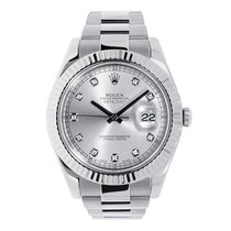 Rolex DATEJUST II 41mm 18K White Gold Bezel Silver Diamond Dial