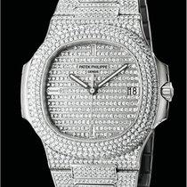 Patek Philippe [New] Nautilus Men's White Gold Diamond...