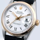 Rolex Datejust w/ White Roman Dial Black Leather Strap