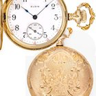 Elgin 14k Sold Gold Ornately Engraved Ladies Antique Pocket Watch