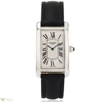 Cartier Tank Americaine Platinum Leather Men`s Watch