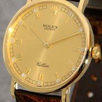 Rolex Cellini 18k gold gent's wristwatch with 11 diamond...