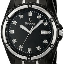 Bulova Marine Star Black Ion Plated Stainless Steel Mens Watch...
