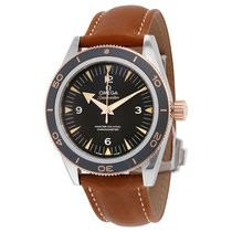 Omega Seamaster 300 Black Dial Brown Leather Men's Watch