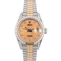 Rolex Datejust Ladies Tridor 18k Factory Diamond Dial Bezel...