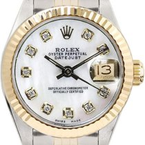 Rolex Women's Datejust Two Tone Fluted Custom Mother of...