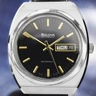 Bulova Automatic Stainless Steel Black Dial Vintage 1970s Mens...