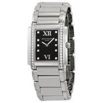 Patek Philippe Twenty-4 Black Dial Steel Diamond Ladies Watch...