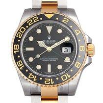 Rolex GMT Master II Black Bezel 18k Gold/Steel Black Dial