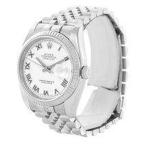 Rolex Datejust Steel 18k White Gold White Roman Dial Watch 116234