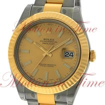 Rolex Datejust II 41mm, Champagne Dial, Fluted Bezel - Yellow...