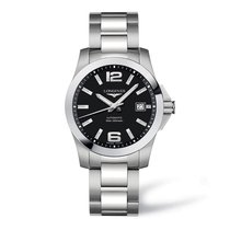 Longines Conquest Black Dial Stainless Steel Men's Watch...